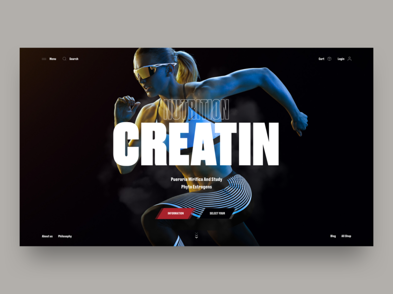 Creatin – Study Phyto Estrogens clean typography girl sport web ux interface design ui