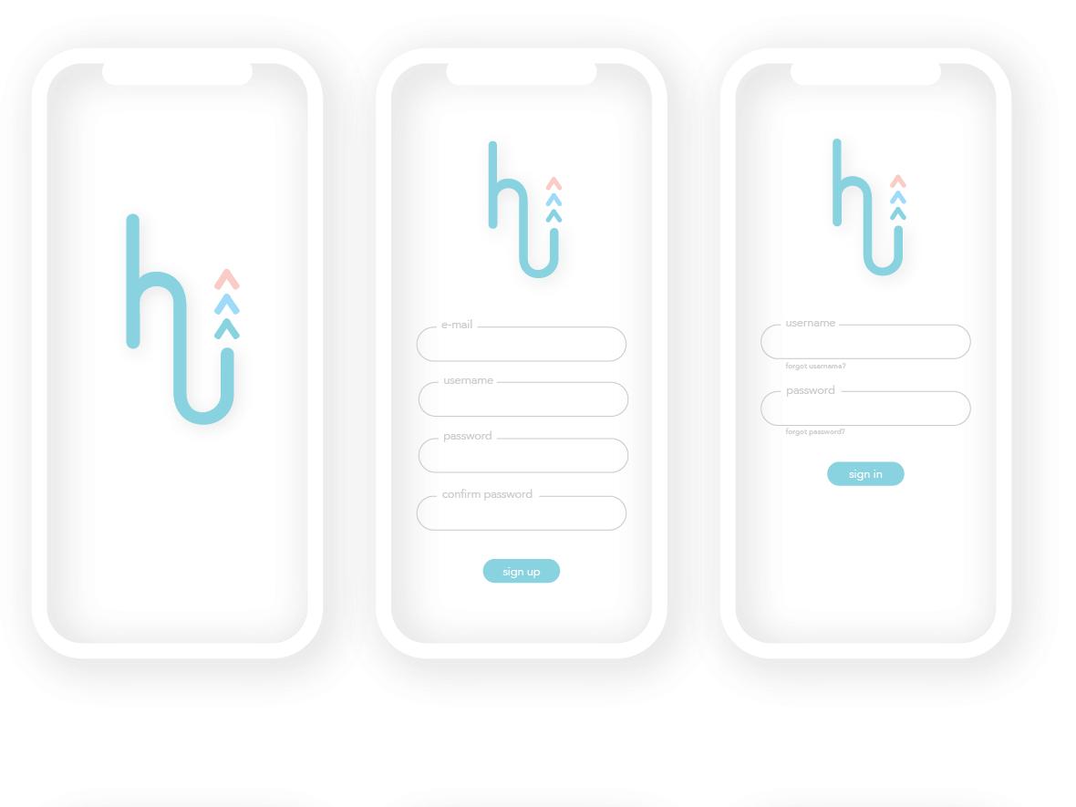 hireU Branding illustration icons blue vector type sketch mobile ios app web ui minimal logo identity flat clean branding brand graphic design