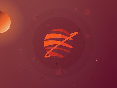 Solar Planet Red galaxy solar art vector planets design branding illustration