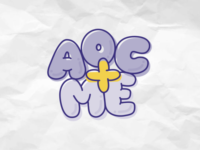 AOC+ME bubble letters typography aoc graphic design