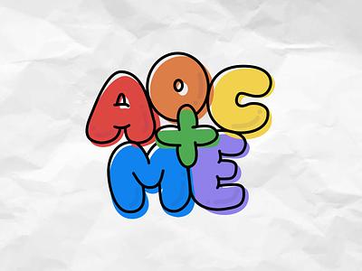 AOC+ME Pride bubble letters typography aoc graphic design