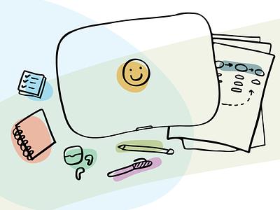 A designer's guide to organizing a job hunt flatlay designer desk illustration