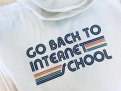 go back to internet school tote bag school internet design ui ux 70s