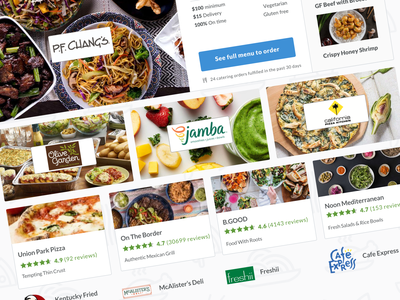 Caterer spotlight rating card restaurant delivery food catering product design design ux ui