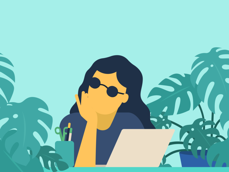Illustration - Thinking vector flat  design latenight pen thinking girl sunglasses macbook design hand ikea decoration character minimal monstera