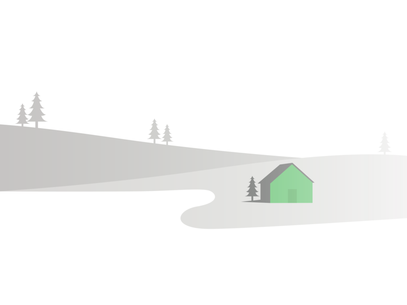 Illustration - Home flat design whitehouse tree white snow pine greenhouse hey flat home alone home