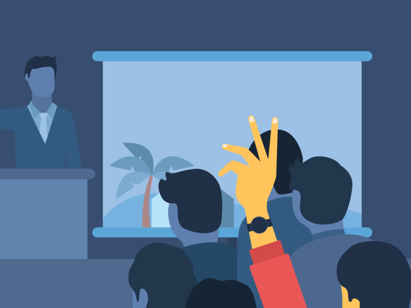 Illustration - Auction property handsup raise screen macbook minimal charachter flatdesign vector hello dribbble hellodribbble blue hand art home people watch auction bidding