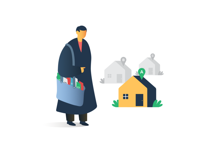 Illustration - Bulk Buyer characters properties body hand ikea dribbble invitation yellow flat design home house money character illustration ui visual design property bulk buyer bulk