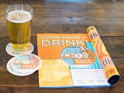 Ales & Tails coasters illustration design crawfish tails beer ales