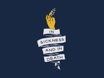 Vows design tattoo ribbon peace death hand illustration