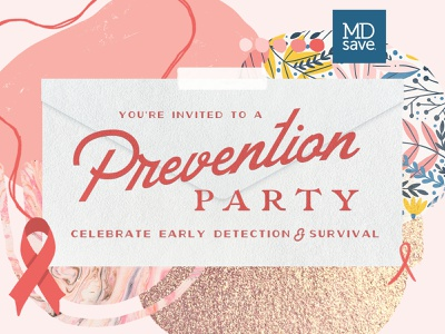 Breast Cancer Awareness typography collage party prevention invitation cancer