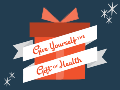 Give Yourself the Gift of Health promotion social retro health gift present christmas illustration