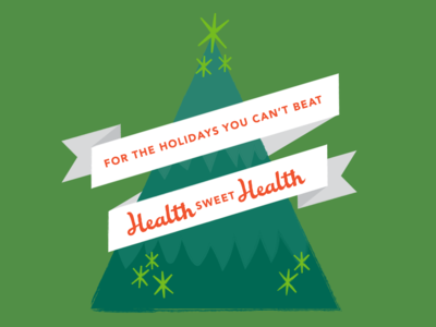 Health Sweet Health retro health tree social vector design christmas illustration