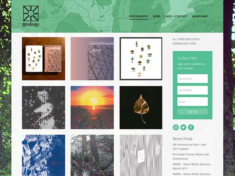 Geology Records Website art direction web design wordpress cassettes tapes music