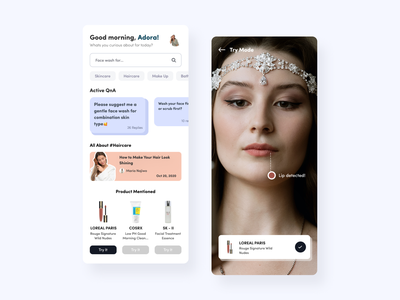 BeautyFess App with AR beauty beauty app augmented reality augmentedreality clean app design ux ui