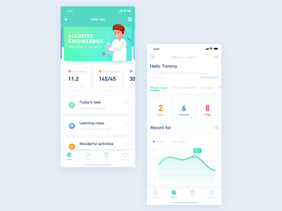 Application of diabetes health management diabetes administration healthy design interface ui app