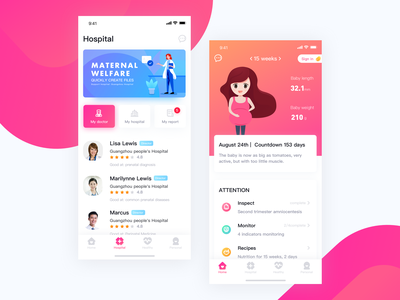 Application interface for pregnant women pregnant women healthy illustration design interface ui app