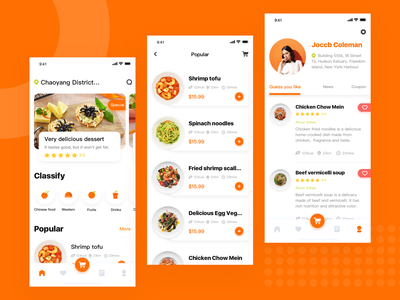 Gourmet Takeaway Platform design interface ui app