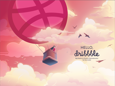 Hello Dribbblers! shot thanks invite hello dribbble hello design illustration