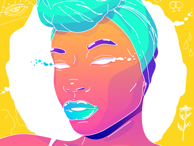 Naomy gradient colors black girl design illustration