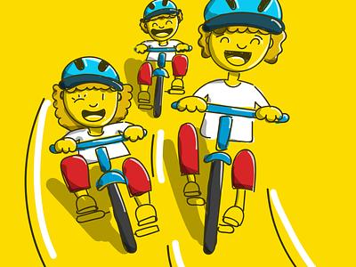 Passeio ciclistico bicycle bike kids illustration