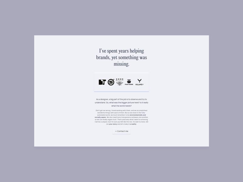 Concept Website exploration - Landing page