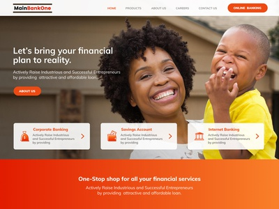 Mainbankone Bank Landing Page UI ( Above the fold)