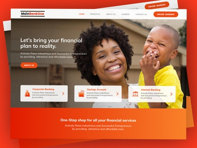 Financial Institution Landing Page UI (Above the fold)