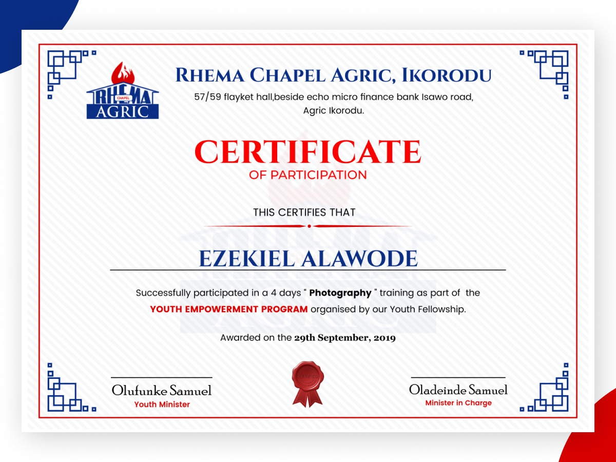 certificate participation dribbble church rhema