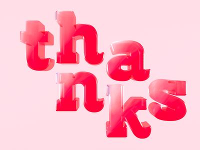 3D Lettering Thanks 3d lettering 3d type design font lettering graphic c4d