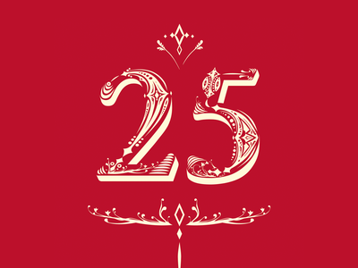 25th anniversary letter typography graphic lettering