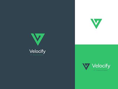 Velocify brand design identity branding identity design consulting logo triangle logo letter v letter logo letter arrow it consultant identity branding graphic design