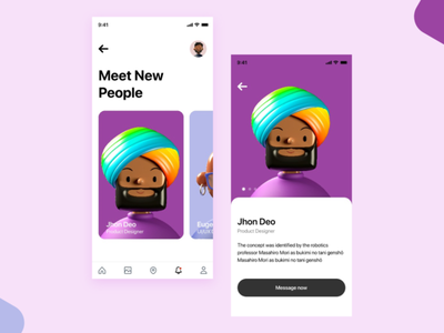 Meet People adobexd app design jhon deo ux duik uxui search people dummy location app