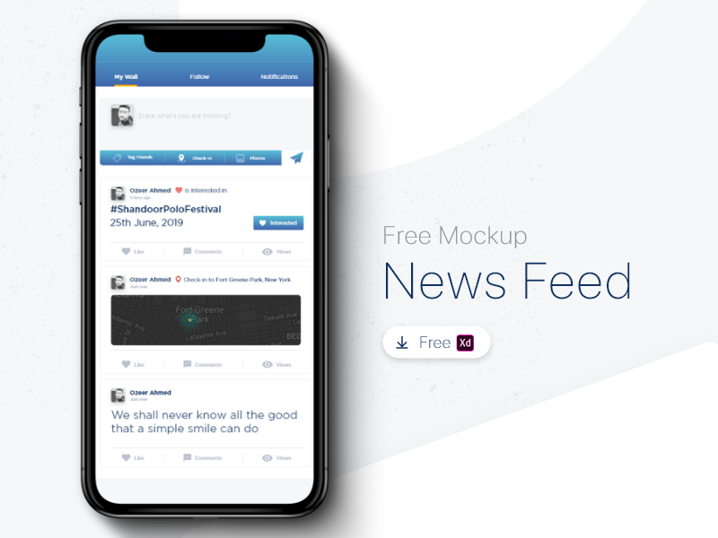 News Feed Mock up app news feed templete interface uxui graphic design adobe xd ui design xd mockup free device