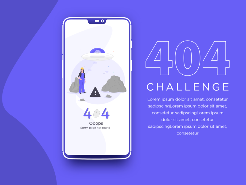 404 Challenge Design challenge mockup app design uxui web identity xddailychallenge ui typography vector graphic designing adobe xd dynamic design illustration creative design branding graphic design