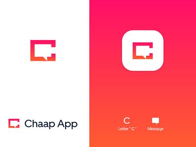 Chaap Application icon letter logo chatting messenger chat app chat branding typography vector illustration logo creative design