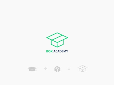 BoxAcademy logo box design agency business minteractive package school green packaging logo academy box