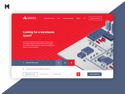 Cushman & Wakefield web design agency layout web animation www rental warehouse isometric red business minteractive