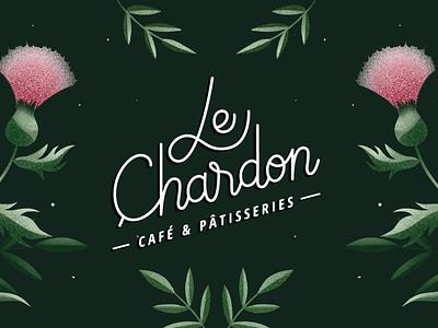 Le Chardon Café & Pâtisserie thistle pastry shop coffeshop coffeelogo nature logo nature illustration green logo graphicdesign design typography logo illustration branding