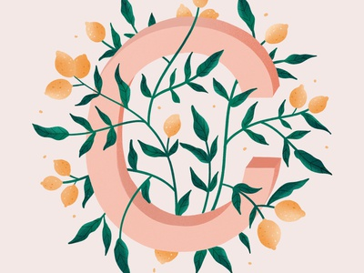 36 Days of Type 2020 plant illustration nature illustration citron pink illustration lemon illustration digital illustration illustration design typedesign type 36daysoftype07 36daysoftype
