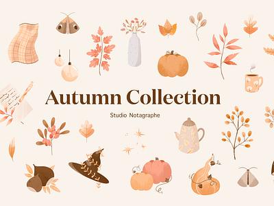 Autumn Collection Studio Notagraphe bullet journal scrapbooking autumn illustration illustration design illustration graphic design illustration kit design kit design bundle fall collection fall