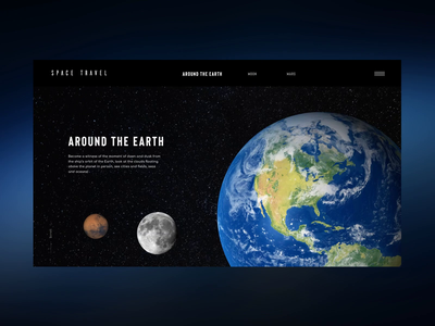 Around the Earth web animation interface design ux spaceman spaceship elon musk ui travel spacetravel space dribbble prototype website webdesign user interface user experience clean minimal