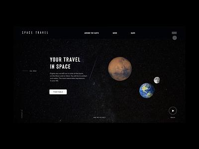 SPACE TRAVEL menu menu earth concept travel spacex hello spacetravel elonmusk clean design ux ui prototyping prototype minimal dribbble website webdesign user experience user interface design