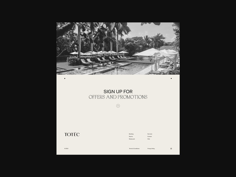 Totec Hotel Web Design desktop uidesign page ui minimal web grid navickaite juste font typography logo identity branding design