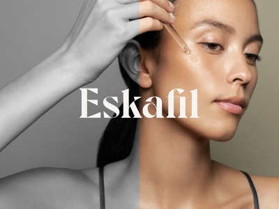 Eskafil Logo Design lithuania vilnius wordmark face skincare direction clean minimal graphicdesign navickaite juste type font typography logo identity branding design