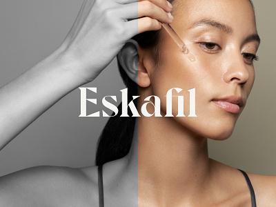 Eskafil Logo Design wordmark face skincare direction clean minimal graphicdesign navickaite juste type font typography logo identity branding design