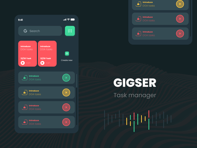 GIGSER task manager   Daily Design task manager android ios clean daily dailyui ux ui mobile app light design to-do todo task manager todo app todolist planning tool
