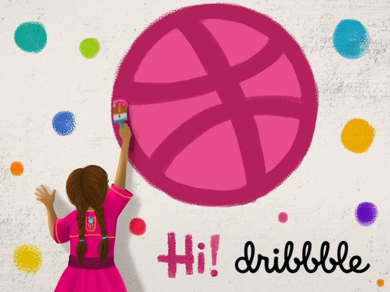 Hi Dribbble! debut invites colors girl illustration hello dribbble