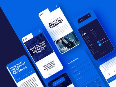 RTF company responsive webdesign responsive design cyan dark engineering navy blue technology blue ux ui white mobile clean website design