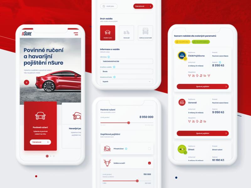 nSure - insurance provider mobile version white wine provider nsure insurance company insurance ui web clean mobile device mobile responsive website design